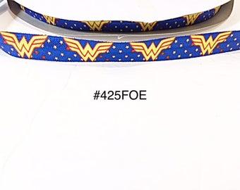 "3 or 5 yard - 5/8"" Super Hero Wonder Woman Blue Fold Over Elastic Headband Hair Accessories"