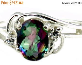 On Sale, 20% Off, Mystic Fire Topaz, 925 Sterling Silver Ring, SR176