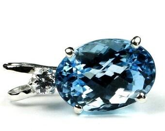 On Sale, 30% Off, Swiss Blue Topaz, 925 Sterling Silver Pendant, SP019