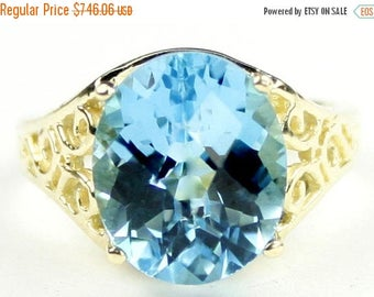 On Sale, 30% Off, Swiss Blue Topaz, 14KY Gold Ring, R057