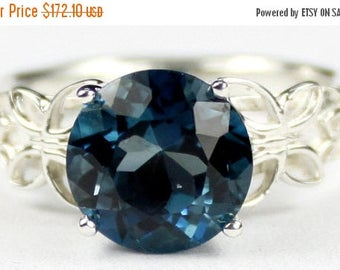 On Sale, 30% Off, London Blue Topaz, 925 Sterling Silver Butterfly Filigree Ring, SR292