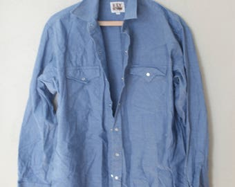 vintage ely 1970's chambray blue pearl snap button up shirt