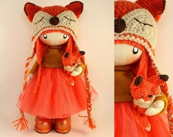 "Cute Rag Doll Zooey Fox MADE TO ORDER Interior Doll 13"" Cloth Doll Fabric Doll Textile Dolls Birthday Gift Handmade Doll Tilda Doll Fox Doll"