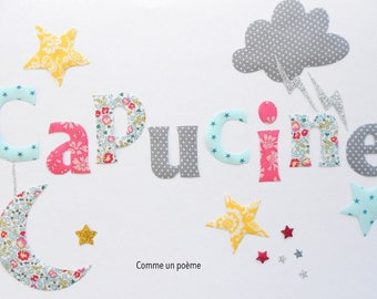 Applied fusible name Theme cloud Moon Star liberty eloise turquoise