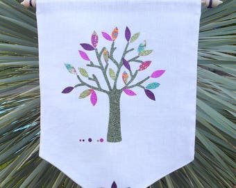 Banner in my tree of life multicolored white washed linen