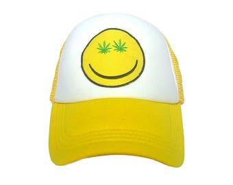 Happy Face Cannabis weed 420 yellow Trucker Cap