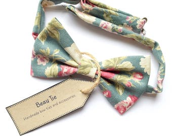 mens floral bow tie, rose print bow tie, floral bow tie, linen bow tie, wedding bow tie, soft turquoise bow tie