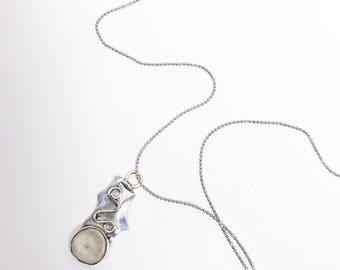 Handmade Antler and silver swirl pendant