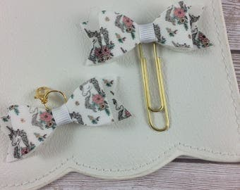 Dreamy Unicorn Bow Clip or Charm // Planner Accessories // Bookmark