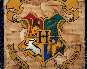 12x16 Harry Potter Hogwarts Crest Sheet Music Canvas