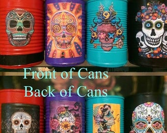 ON SALE Day of the Dead Día de los Muerto Decorations Cans Vases Centerpieces Wedding Party Home Decor Sugar Skull Halloween Gothic Goth Mex