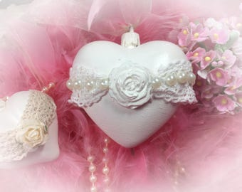 Hanging Heart Shabby Chic Victorian Style Lace Rose Pearl Ornament Creamy White Decoration Christmas Valentine's Day Home Vanity Decor Gift