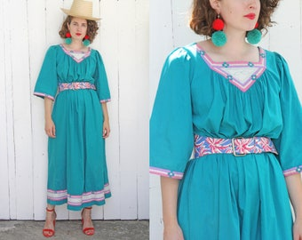 Vintage 80s Dress | 80s Long Turquoise Cotton Embroidered Dress | Small S Medium M Large L