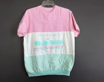 Vintage 80s tshirt Busch gardens Florida tourism pink green