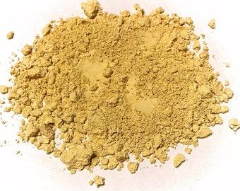 MEDIUM YELLOW Titanium Free Mineral Foundation - Multi Tasking Loose Powder - Gluten Free Vegan Makeup Samples and Full Size