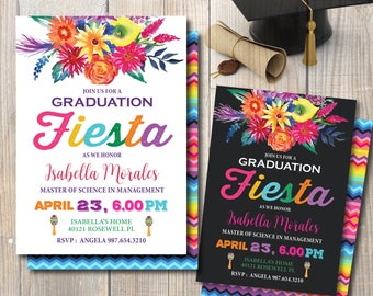 Fiesta Graduation Invitation, Graduation Party Invitation, Digital File to Print, DIY