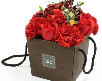 Soap flower bouquet - red rose and carnation.