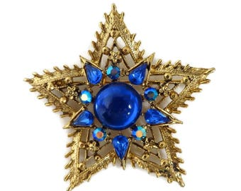 Weiss Gold Star Brooch, Blue AB Rhinestone Spiky Gold Tone Star Pin Signed Weiss Jewelry