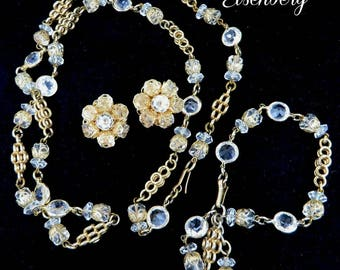 Eisenberg Bracelet, Necklace, Earrings, Vintage Crystal Parure, Goldtone Jewelry Set, Bridal Jewelry, FREE SHIPPING