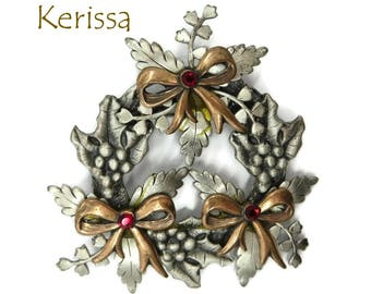 Vintage Brooch - Kerissa Wreath Brooch, Christmas Wreath Pin, Two Tone Wreath Brooch, Rhinestone Stud Holiday Pin