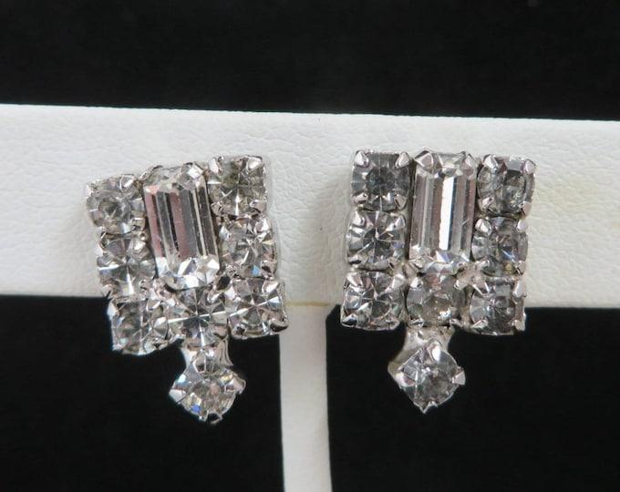 Rhinestone Screwback Earrings, Vintage Silver Tone Bridal Earrings, Formal Wear Night Out Earrings
