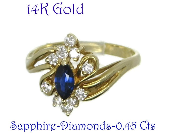 Sapphire - 14K Gold Sapphire, Diamond Ring, Vintage Multistone Sapphire and Diamond Engagement Ring, Cocktail Ring, Size 6