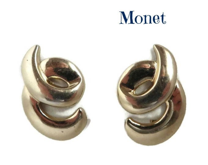 Monet Curled Earrings - Vintage Gold Tone Clip-on Earrings, Signed Designer Jewelry