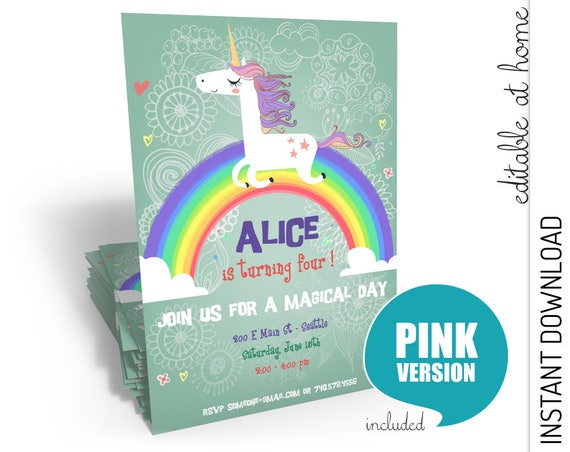 Unicorn Birthday Invitation INSTANT DOWNLOAD