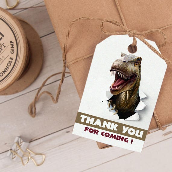 Dinosaur Favor Tag INSTANT DOWNLOAD