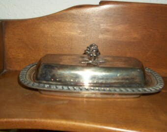Vintage F B Rogers Silver plated butter dish with top cover, Rose handle, lidded top
