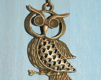 30 inch antique bronze rosary chain with antique bronze owl pendant
