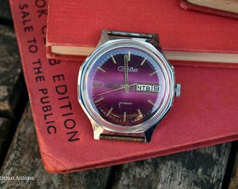 Vintage Soviet Russian Slava 26 Jewels Stainless Steel Silver Colour and Purple Calendar Mechanical Wind Up Men's Wrist Watch Made in USSR