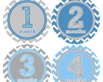 Baby Month Stickers, Baby Boy Gift, Milestone Stickers, Monthly Sticker, Monthly Baby Boy Stickers, Baby Month Milestone Stickers 222
