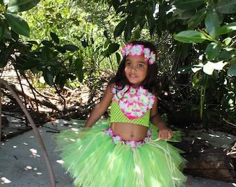 Hawaiian tutu/ Luau tutu/ Hula tutu/ hula costume/ moana costume/ Te Fiti costume/ Hula girl costume/ Hawaiian costume