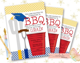 Barbeque Graduation Party Invitation- End of the School year party, graduation party, BBQ Grill party - Graduation Party Invite