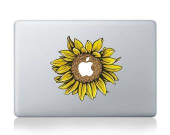 "MacBook Sunflower Vinyl decal, sticker for Apple Macbook Air/Pro 13"""