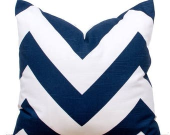 SALE ENDS SOON Navy Throw Pillows, Navy Chevron Pillow Case, Navy Pillows, Navy Sofa Cushions, 20 x 20""