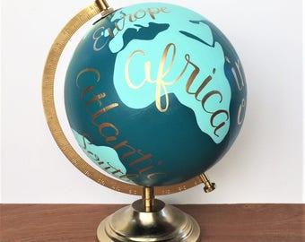 Painted globe, world globe, dorm decor, hand lettered globe, office decor, teal
