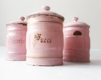 1930's French Kitchen CANISTERS SET of 3, pink and gold/ French enamelware/ French decor /French kitchen / Shabby chic