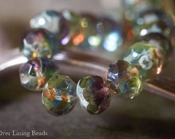 NEW! Stained Glass (10) - Czech Glass Bead - 6x8mm - Faceted Rondelle