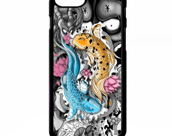 Koi carp japanese fish chinese ink cool tattoo pattern art cover for iphone 4 4s 5 5s 5c 6 6s 7 plus SE phone case