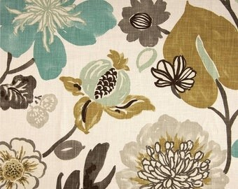 SHIPS SAME DAY Gorgeous Pearl Floral Fabric By Braemore, Multi Colored Floral Home Decor Fabric - By the Yard