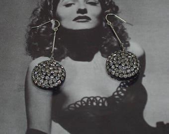 Vintage Rhinestone Acrylic Earrings, 40's Lucite Earrings, Rhinestone Glam Earrings, Elegant Chandelier Earrings, Silver Rhinestone Earrings