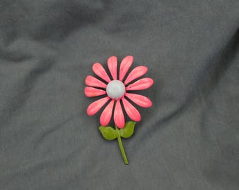 Vintage Enamel Pink Flower Pin