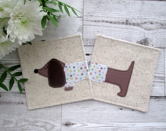 Dachshund Drink Coasters, Dachshund Gift, Fabric Coasters, Gift For Her, Housewarming Gift, Hostess Gift, Dog Coasters, Textile Coasters