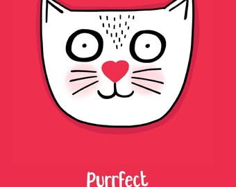 Purrfect cat card. Funny birthday card.