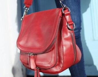 Vintage Red Leather Handbag - Vintage Red Leather Bag - Vintage Red Leather Messenger Bag - Red Leather Handbag - Red Leather Bag