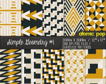 Minimalist Vintage Geometric Digital Paper Pack// Seamless Photoshop Patterns // Instant Download