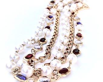 Gold, Bejeweled, Pearl Multi-Strand Necklace