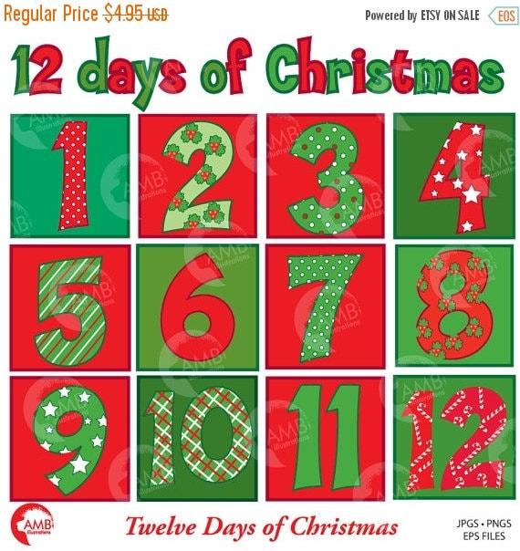 Christmas Numbers Clipart Twelve Days of Christmas Christmas